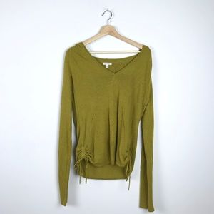 Silk and Wool Hooded Long Sleeve Top L